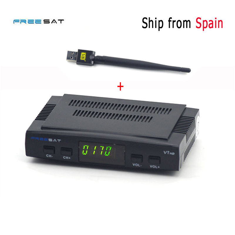 3pcs/lot DVB-S2 Freesat V7 HD Satellite TV Receiver Support PowerVu Biss Key Cccamd Newcamd Youporn 3G dongle with USB Wifi i box rs232 dvb s satellite smart sharing nagra 3 dongle black