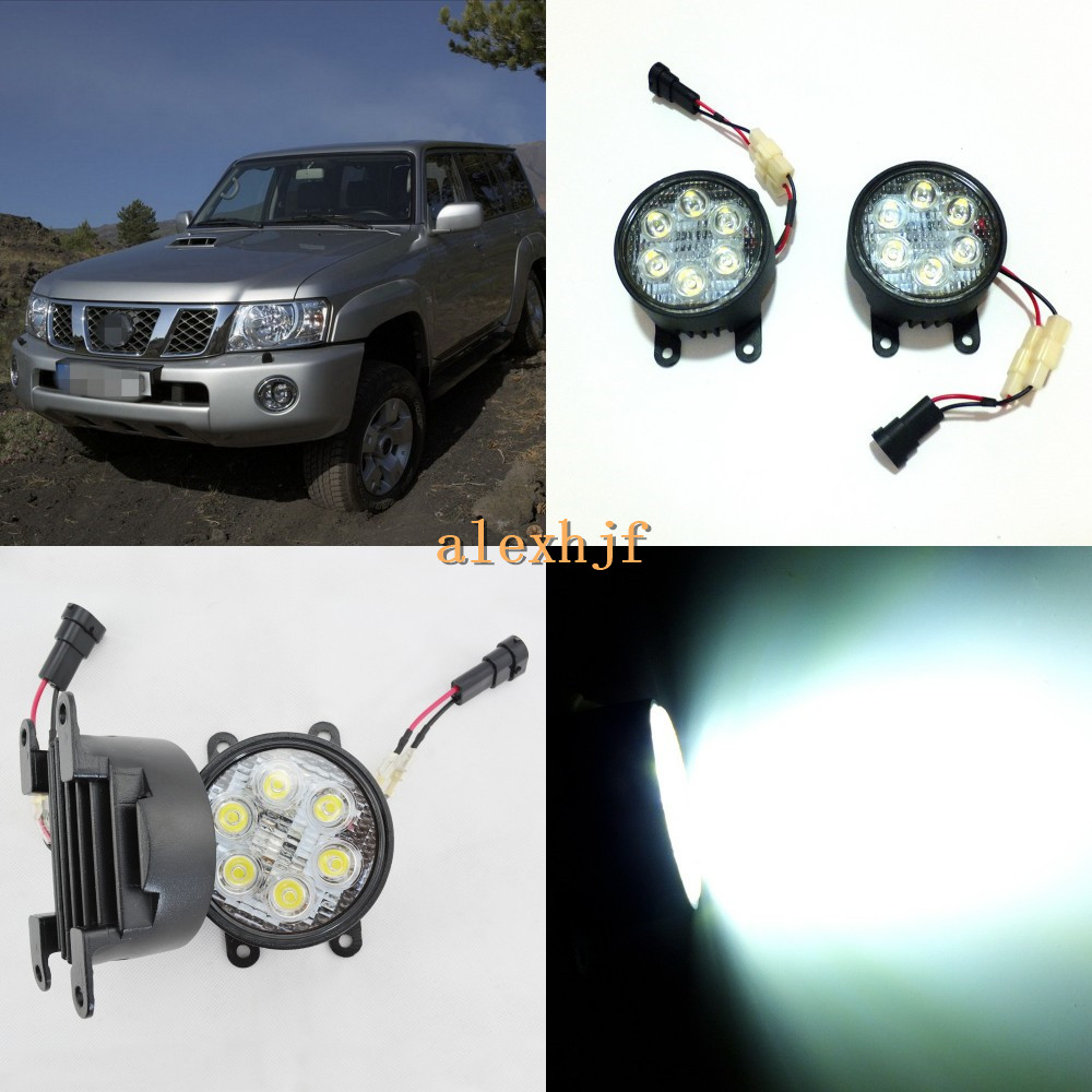 July King 18W 6LEDs H11 LED Fog Lamp Assembly Case for Nissan Patrol Y61 2005~2010, 6500K 1260LM LED Daytime Running Lights