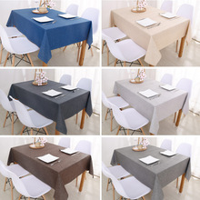 Rectangular Tablecloths Decorative Cotton Linen Solid-Color Byetee