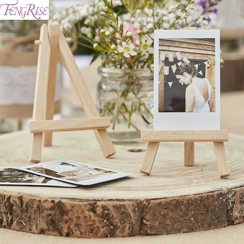 FENGRISE 1PC Place Card Holder Wedding Decoration Wooden Easel 1st Birthday Party Decor Kids Anniversary Party Supplies image