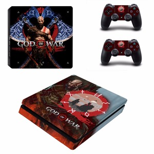 Image 3 - God of War 4 PS4 Slim skóry naklejka naklejka do kontrolera Dualshock PlayStation 4 konsola i 2 kontrolery PS4 Slim skórki naklejki ścienne winylowe