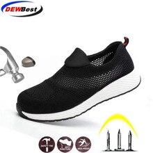 DEWBEST botas de seguridad y trabajo para hombre y mujer, zapatos ligeros de acero, transpirables, de talla grande 36 46, para verano, 2019