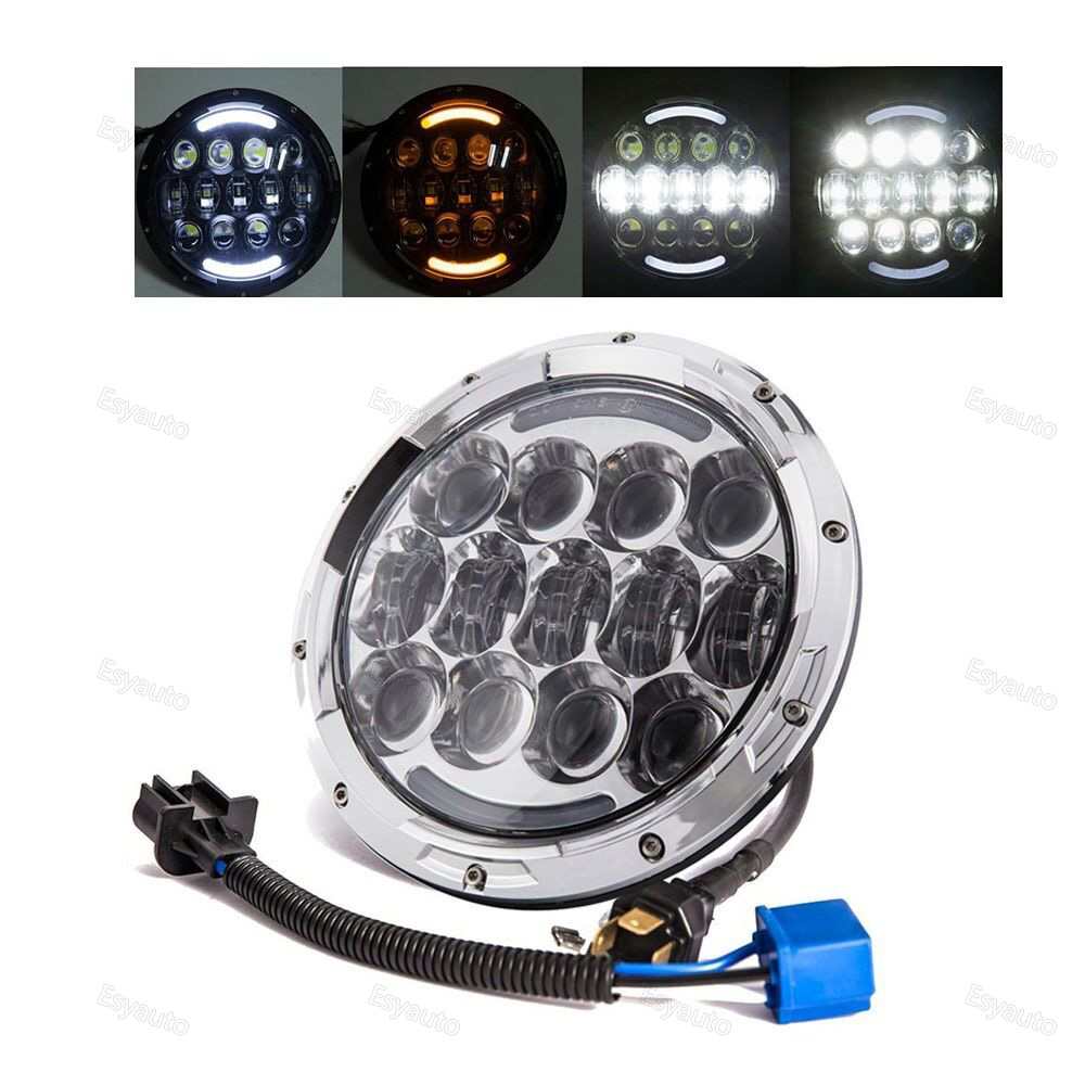 7 Inch Round LED Headlight with White DRL and amber Lighting 7'' High/Low Beam Headlamp for Jeep Wrangler 2pcs 7 inch round led headlight with white amber lighting color drl 7 high low beam headlamp for jeep wrangler