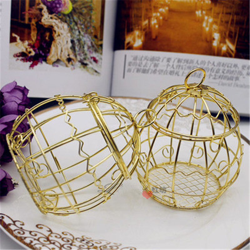 20pcs Iron Birdcage Candy Box Golden Bird Cage Wedding Sweets And Chocolate Boxes Country Rustic Wedding
