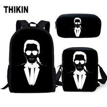THIKIN Cartoon School Bag Karl Lagerfelds&Cat Students Backpack Set/3PCS Bookbag for Girls Women Kids Notebook Satchel Daypack