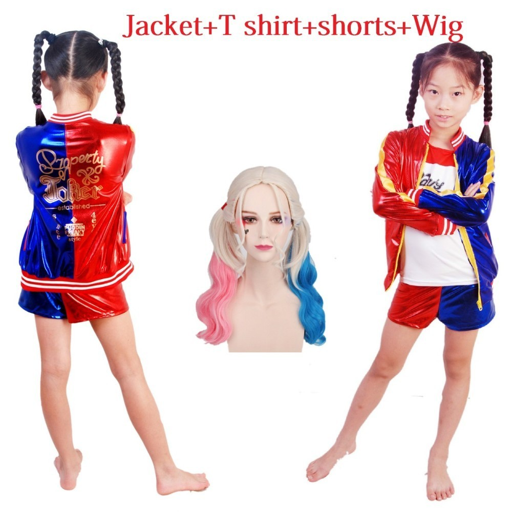 halloween costume for kids cosplay joker and harley quinn suicide squad costumes wig jacket T shirt shorts children child girls