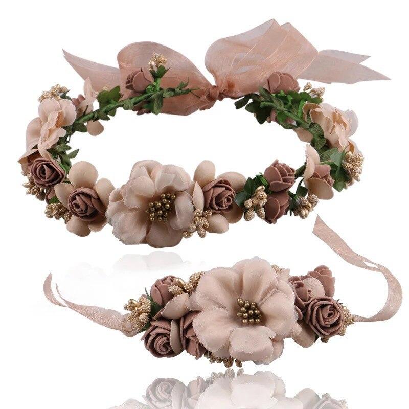 Multicolor Flower Crown Bridal Hair Accessories Fashion Summer Beach Wedding Luxury Bridal Hair Bands Headpiece Bridesmaid