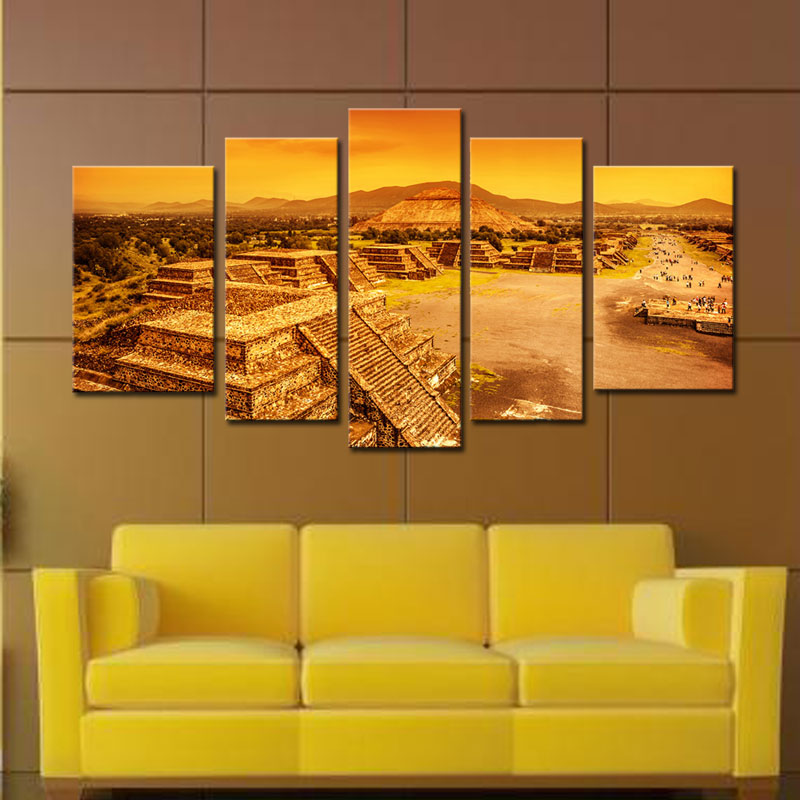 Unframed 5 Panels Canvas Oil Painting for Home Wall Decor Ruins of ...