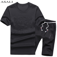 ASALI Brand Clothing 2PC Casual T Shirt Suit Men Fashion Summer 2017 New Mens Suit Slim