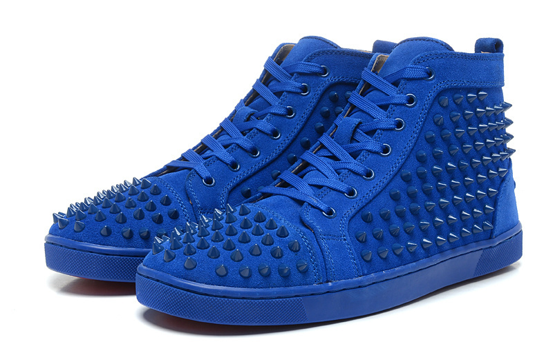 22e4a9ed3c0 Red bottom Lou Sneakers Spikes men women shoes blue suede leather ...