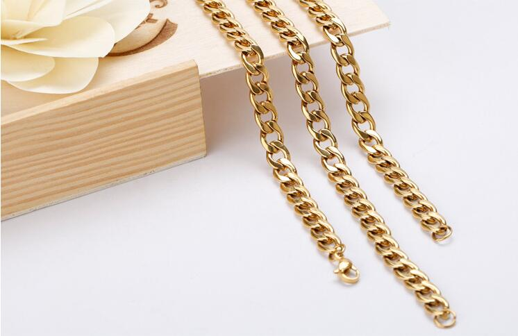 Mens Chain( 8mm 60CM 52g )Heavy Gold Plated 316L Stainless Steel Double Curb Link Rombo Boys Necklace Wholesale Gift