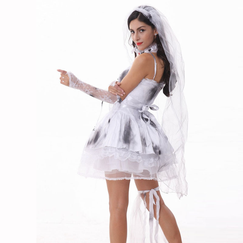 12bfa5e59f Disfraz de Halloween para mujeres Zombie novia Cosplay Sexy blanco vestido  de lujo carnaval fiesta adulto chicas traje en Disfraces miedo mujer de La  ...