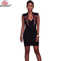 BALIWEISA New Elegant Vintage Mini Dress Women Sexy V Neck Back Zip Up Embroidery Flower OL