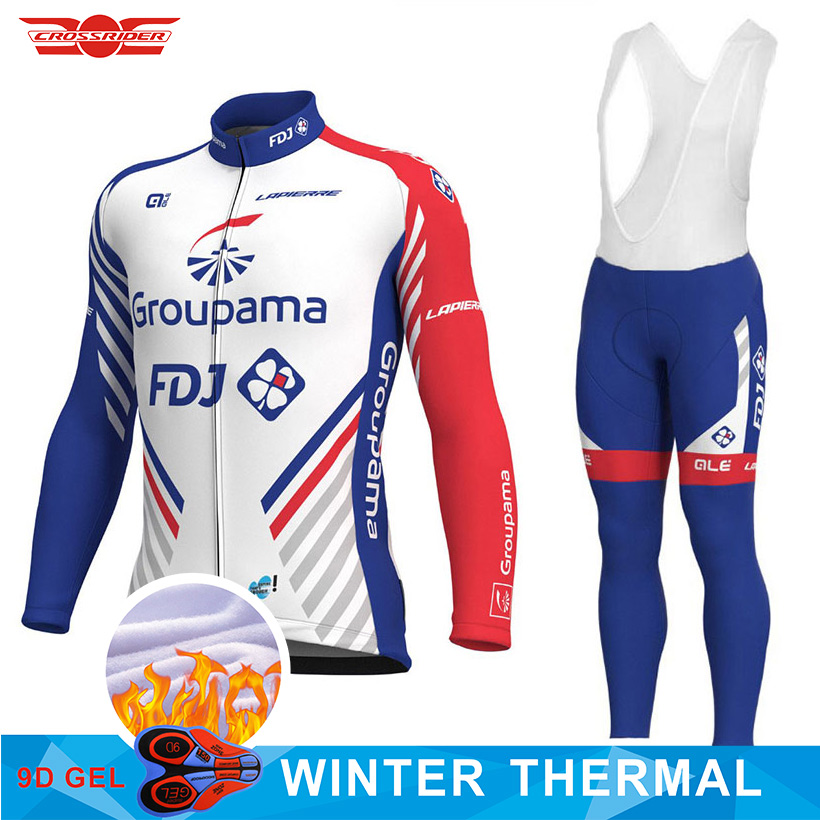 2018 Team FDJ Cycling Jersey 9D Pads Bike Pants Set Mens Ropa Ciclismo New Winter Thermal Fleece Bicycle Clothes Cycling Wear недорго, оригинальная цена