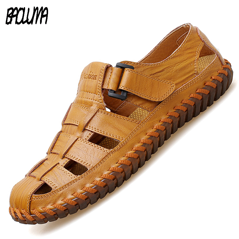 Brands Mens Sandals Real Leather Outdoor Sandals Summer Handmade Men Shoes Men's Sandals Breathable Summer Walking Sandals