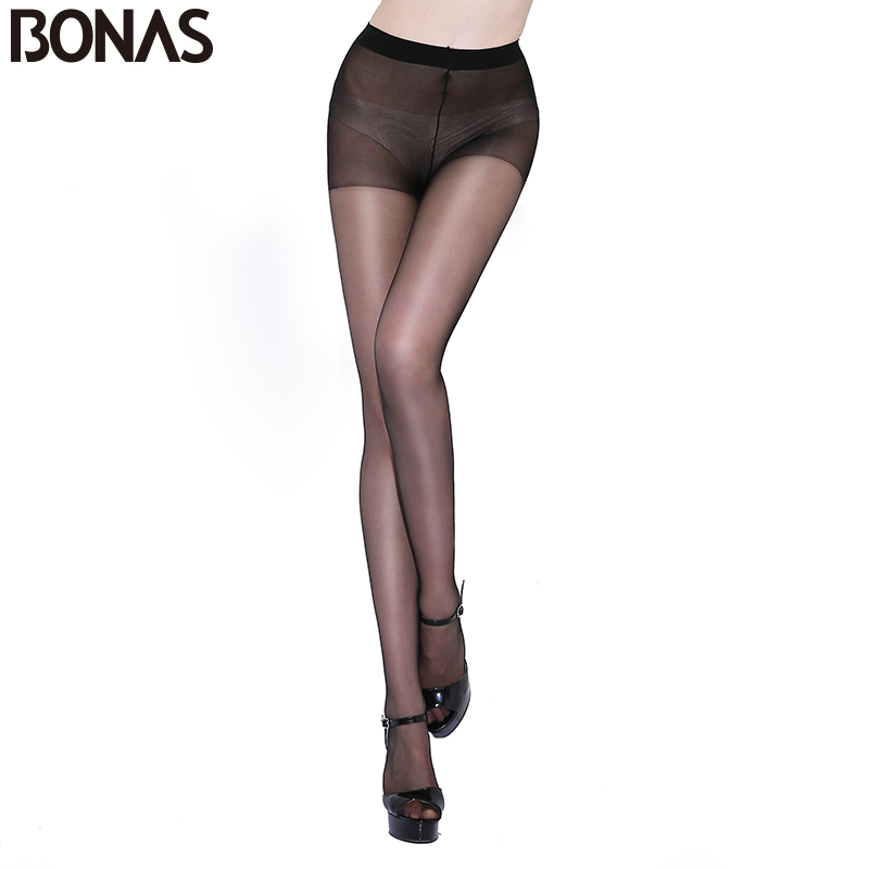BONAS 15D Nylon Tights 6 Pcs Women Summer Seamless High Elasticity Spandex Pantyhose Female Fashion Stretch Cotton Tights