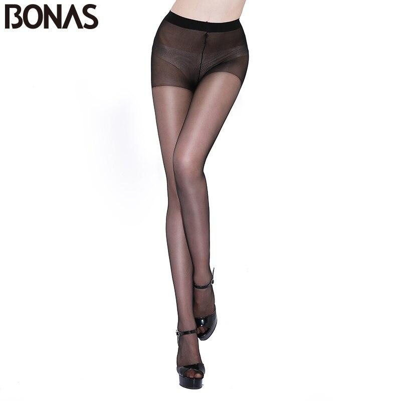 BONAS 6ks / lot 15D nylonové punčocháče dámské letní bezešvá vysoká elasticita Spandex Punčocháče Dámská módní strečové bavlněné punčocháče