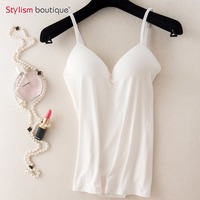 Womens V Neck Sexy Tanks Tops Comfortable Padded Bra Seamless Bras Tank Top Modal Adjustable Strap