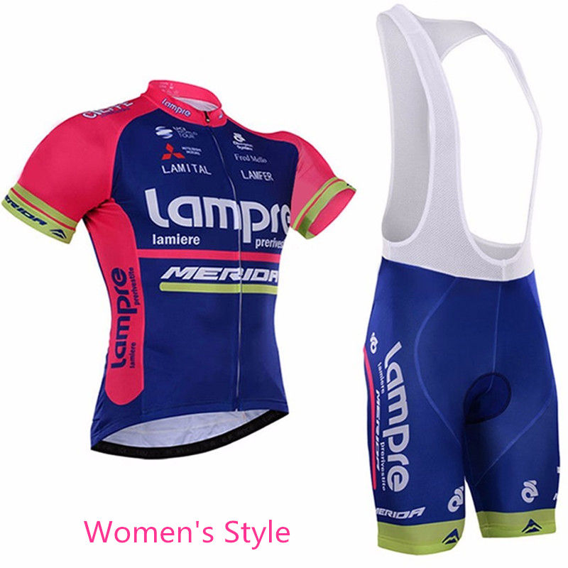 цена на Pro Lampre Merida Maillot Cycling Jersey Women Sets/2018 Ropa Ciclismo Mujer Bicycle Summer Cycling Clothing Bike Clothes