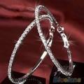 Bluelans 1 Pair Womens Luxury Crystal Rhinestone Earring Ear Hoop Dangle