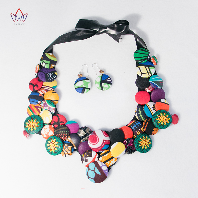 BRW Ankara Earrings and Necklaces Set Ankara Handmade Jewelry Colorful Button Bib Necklce African Necklace and Earrings WYA070