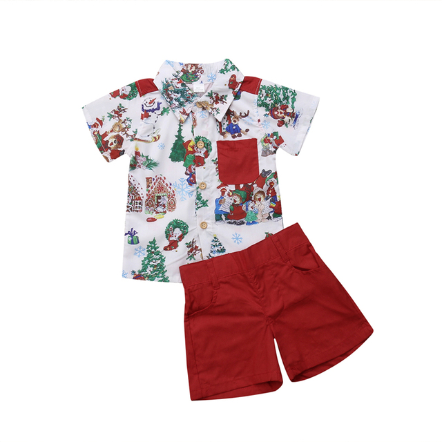 98ed82b68 Brand NEW Christmas Clothes Set Toddler Baby Boys Clothing T Shirt Blouse  Top + Shorts Summer Beach Christmas Outfits Clothes