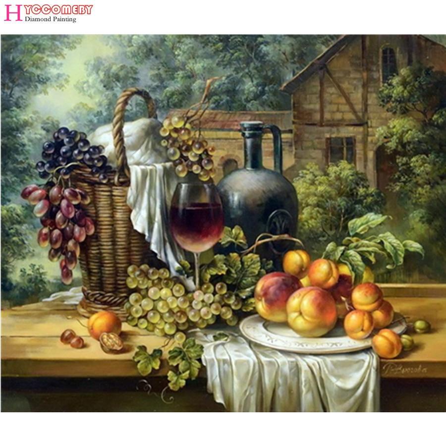 5d diy gyémánt festés gyümölcs csendélet otthon dekoratív gyémánt hímzés festés fúró strass mozaik ajándék vörösbor szőlő