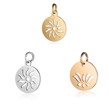 5pcs 316L Stainless Steel Double Side Polished OM Yoga Lotus Flower Sun Charms Pendants Fit DIY Jewelry Making Accessories Craft