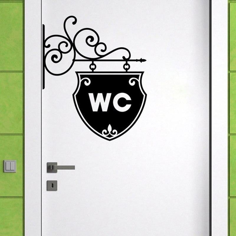 Vintage WC Toilet Bathroom Door Wall Sticker Doorplate Decoration Vinyl Home Decor Decals Waterproof Toilet Sign Wall Stickers