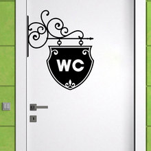 Vintage WC toilet bathroom Door wall sticker Doorplate decoration vinyl home decor decals waterproof Toilet sign wall stickers