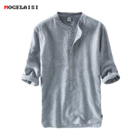 NEW Men's Shirts 55%Linen + 45%Cotton Three Quater Sleeve Striped Shirts Men Fashion Flax Shirt Linen Men Clothing size M 3XL