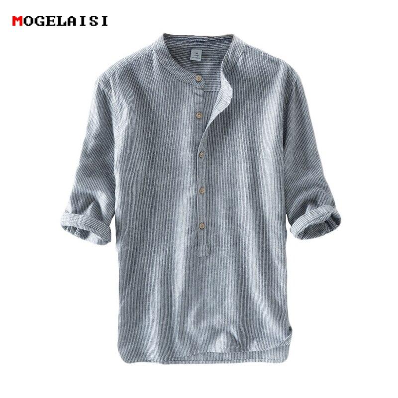 75f606c647 Nuevas camisas para hombre 55% Lino + 45% algodón tres cuartos manga rayas camisas  hombres moda Lino camisa Lino hombres ropa tamaño M-3XL