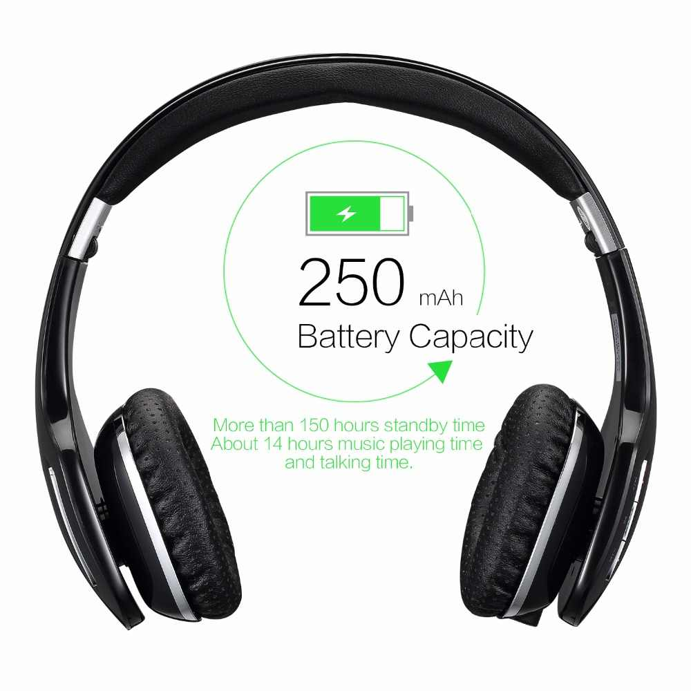 Ausdom M07 lekkie bezprzewodowe słuchawki z bluetooth składany zestaw słuchawkowy głęboki basowy zestaw słuchawkowy połączenie bezprzewodowe z mikrofonem 14Hrs czas rozmów