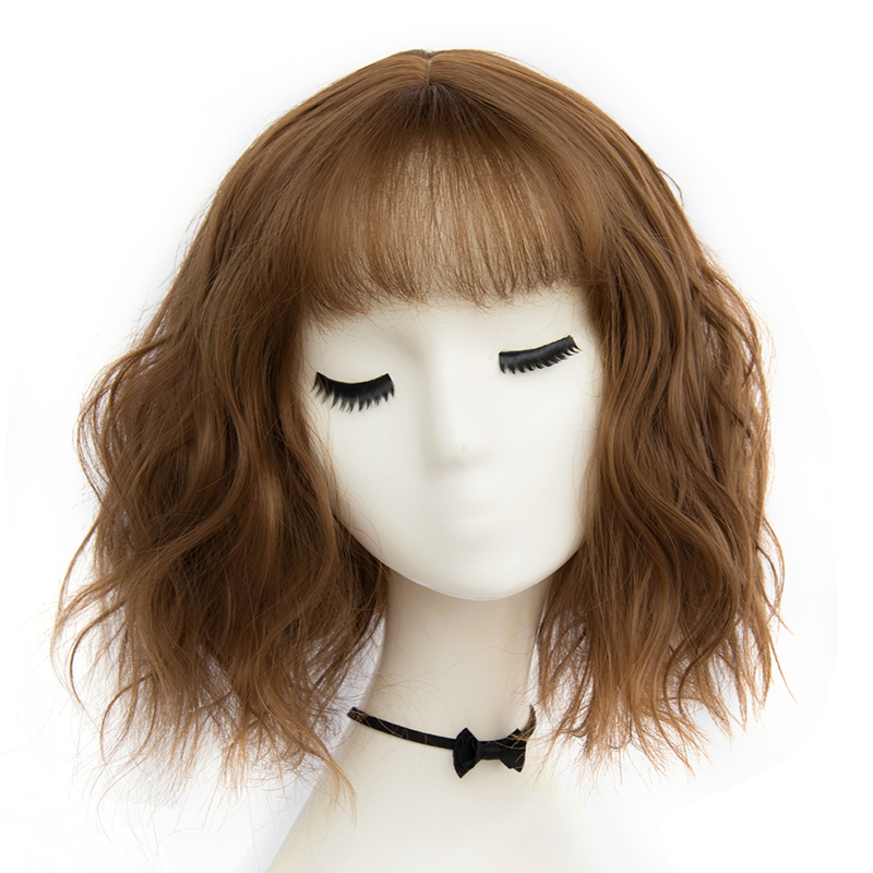 Daily 31cm Short Dark Brown/Blonde/Light Gray Curly Celebrity Lolita Party Cosplay Synthetic Wig+Cap Heat Resistant H763843B2