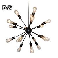 Индустриальный Стиль спутник подвесные светильники творческий черный гладить E27 светодиодные лампы hanglampen Lampara люстры Lampen Pendientes лампе деко