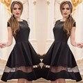 2016 New Women's O-neck Solid Color Stitching Gauze Big Swing Dress High Waist Silm Short-sleeved Fashion Cute Dresses   LQ0138