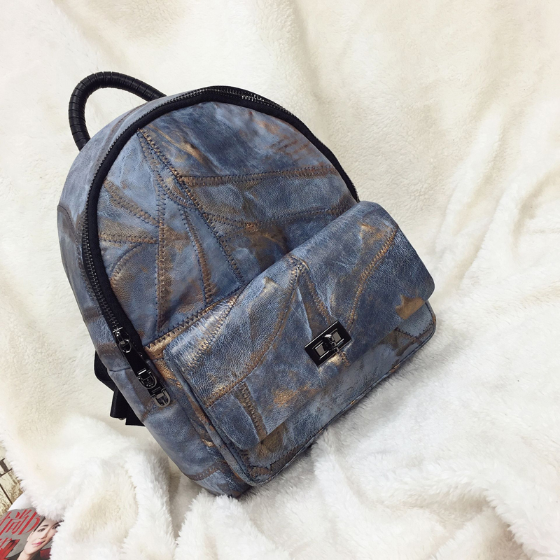 Backpack women Korean 2018 new fashion bag student bag Oxford + soft leather backpack female pu leather women bag big casual tote vintage patchwork woman shoulder bags luxury handbags famous brand designer women handbag