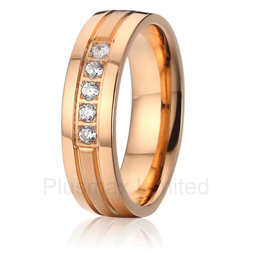 2016 China factory fashion pure titanium jewelry for girl rose gold color engagement wedding band rings anel feminino cheap pure titanium jewelry wholesale a lot of new design cheap pure titanium wedding band rings