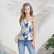 Sexy v neck print female summer tank top women 2019 embroidery streetwear lady camisole top feminino floral holiday tank fashionable round neck floral print layered tank top for women
