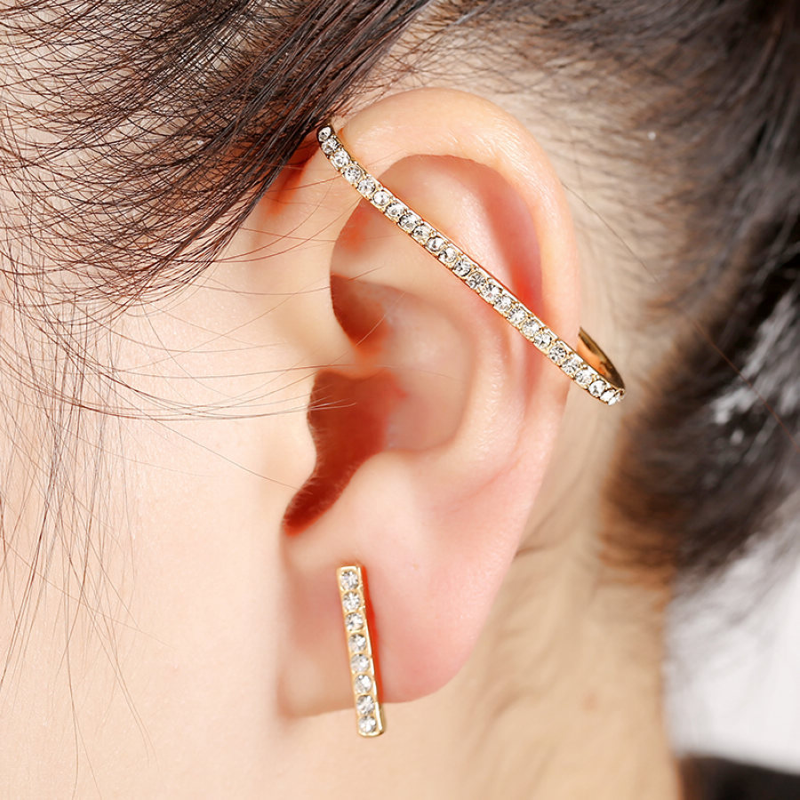 Wholesale Left Ear 1 Pcs Design New Arrival Full Rhinestone Ear Cuff Earring  For Women High