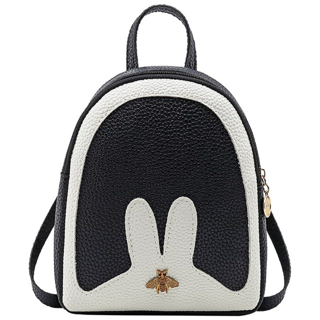 PU Leather Daypack Candy Color Cute Women Backpacks Stitching Color Bee  School Bags For Backpacks For e0d10b115b42e