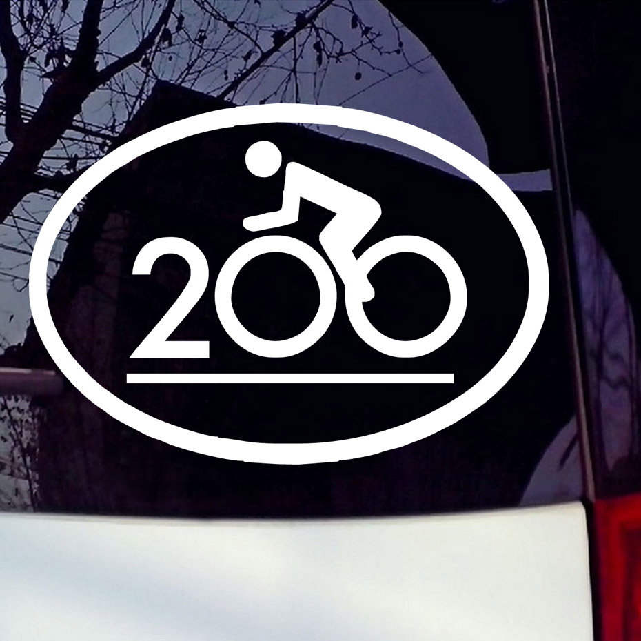 Bike stickers design online - Cycling Double Century Vinyl Car Sticker Funny Bike Decoration Art Decals Riding Bike Removable Laptop Sticker