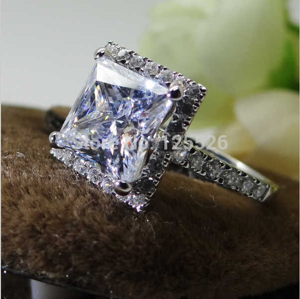 Choucong ประกายเจ้าหญิงตัดหิน 5A Zircon หิน 10KT ทองคำขาวงานแต่งงานแหวน SZ 5-10 ของขวัญฟรีการจัดส่ง