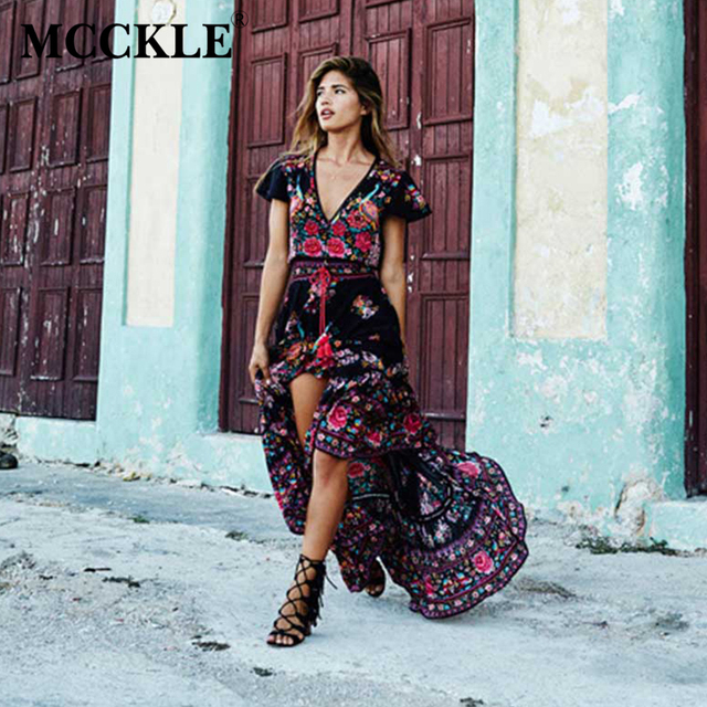 MCCKLE 2017 Women Summer V Neck Vintage Boho Long Maxi Floral National Chiffon Dress Party Beach Dress Floral Sundress