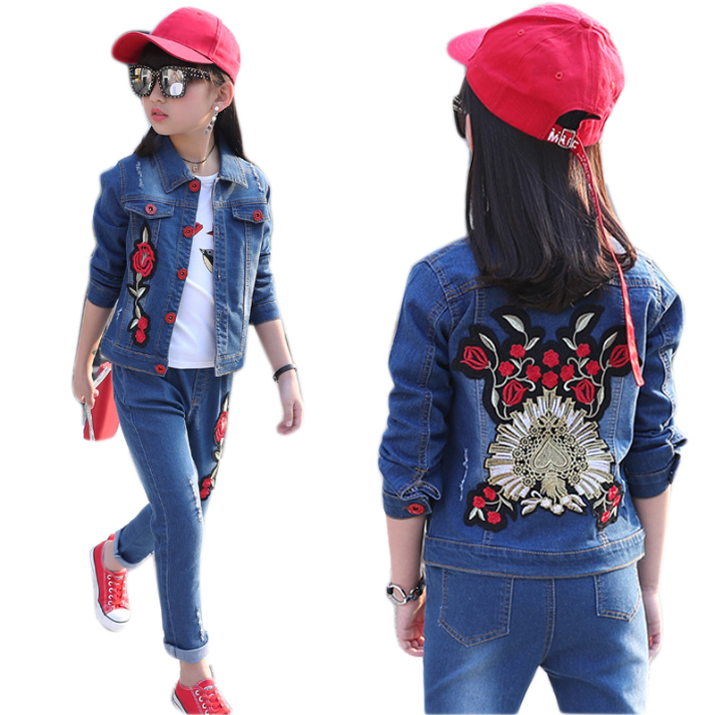 Baby Girl Clothes 10 11 13 9 7 Years Girls Clothing Set Denim Jacket + Jeans 2pcs Flower Girl Suit Cotton Casual Girls Outfits fashion girls clothing sets for spring baby girl sets cotton floral 3pcs suit set flower coats shirts jeans cool girls outfits