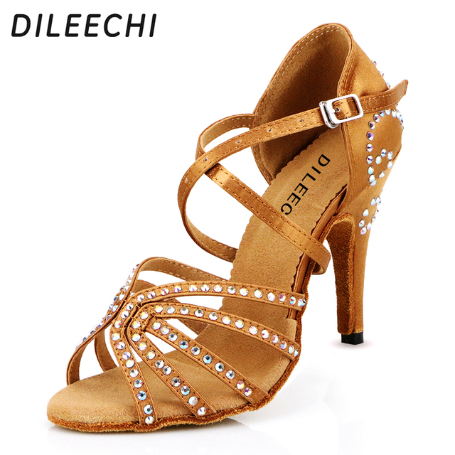 DILEECHI female Bronze red satin Latin dance shoes women's ...