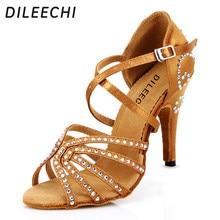 15f8442004 DILEECHI feminino Bronze red satin Latina sapatos de dança Salsa Strass das  mulheres festa de Casamento shoes10cm alta sola maci.