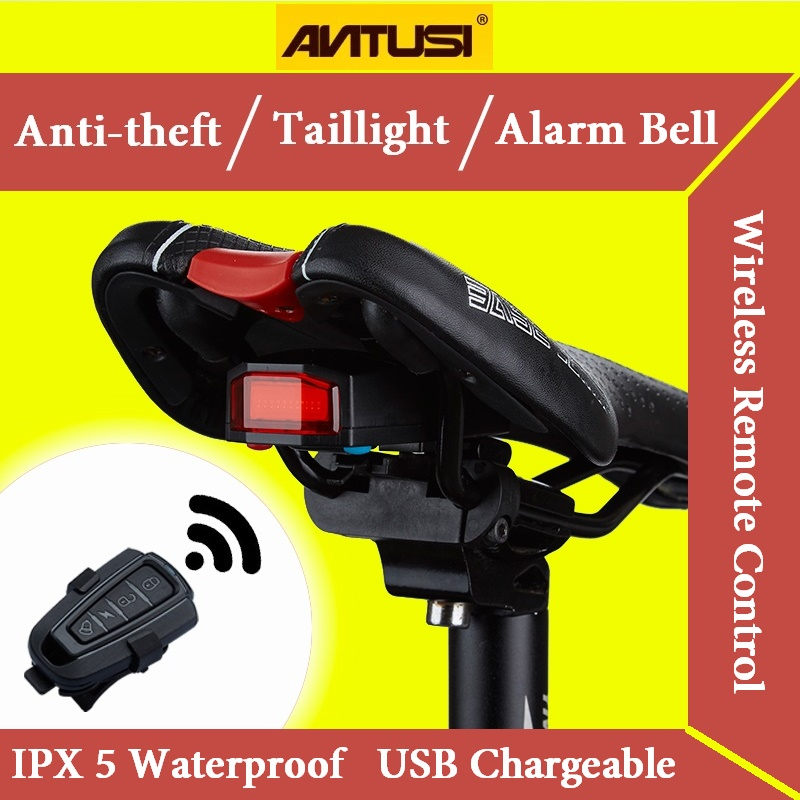 Bicycle Wireless Anti-theft Alarm Lock Bike Remote Control Rear Light Antusi Bell Cycling Safety Taillight Bicicletas Smart Lamp