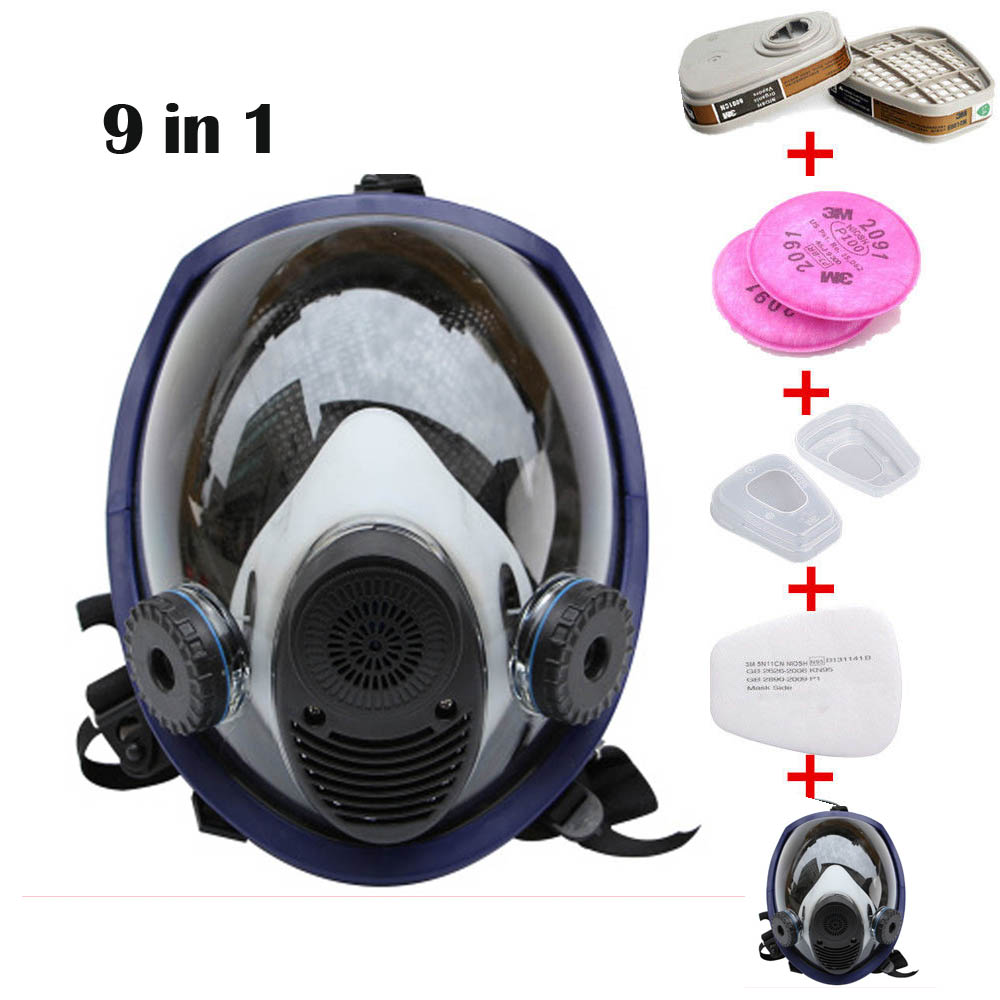 9 Piece Suit Updated Painting Spraying Similar For 6800 Gas Mask Full Face Facepiece Respirator 9 in 1 suit gas mask half face respirator painting spraying for 3 m 7502 n95 6001cn dust gas mask respirator