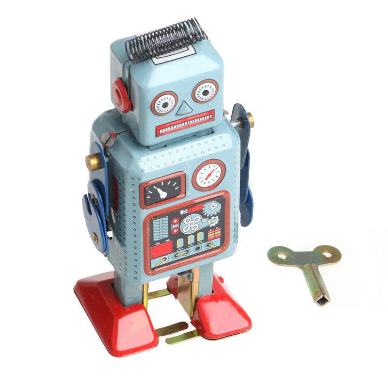 nuevo unidades vintage mecnica clockwork wind up walking robot lata coleccin juguete con clave regalo